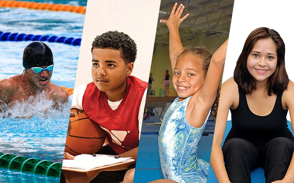 Man swimming, kids playing basketball, a gymnast and a woman on a training mat.