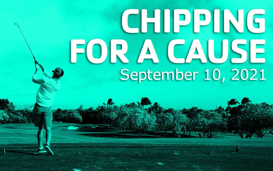 "Man golfing with green overlay and text stating ""Chipping for a cause"""