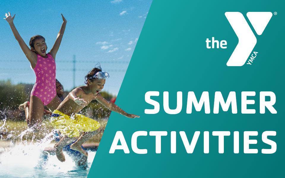 "Children jumping into a pool with text stating ""Summer Activities"""