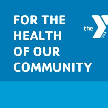 """For the health of our community"" white text on a blue background"