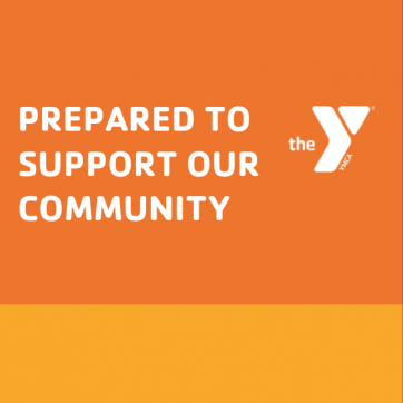 """Prepared to Support Our Community"" white text on an orange background"